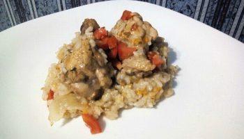 Курица с овощами в вине с рисом (наш семейный рецепт)