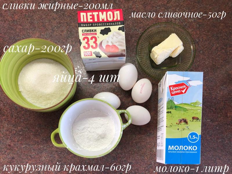 Ингредиенты заварной крем