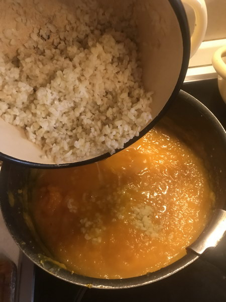 Тыквенный крем-суп с рисом и креветками (пошаговый фоторецепт)