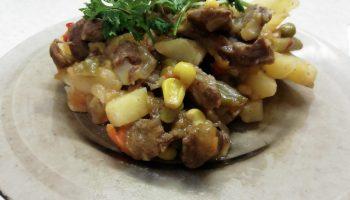 Вкусный ужин: Картофель томленый с говядиной со смесью «По-мексикански»