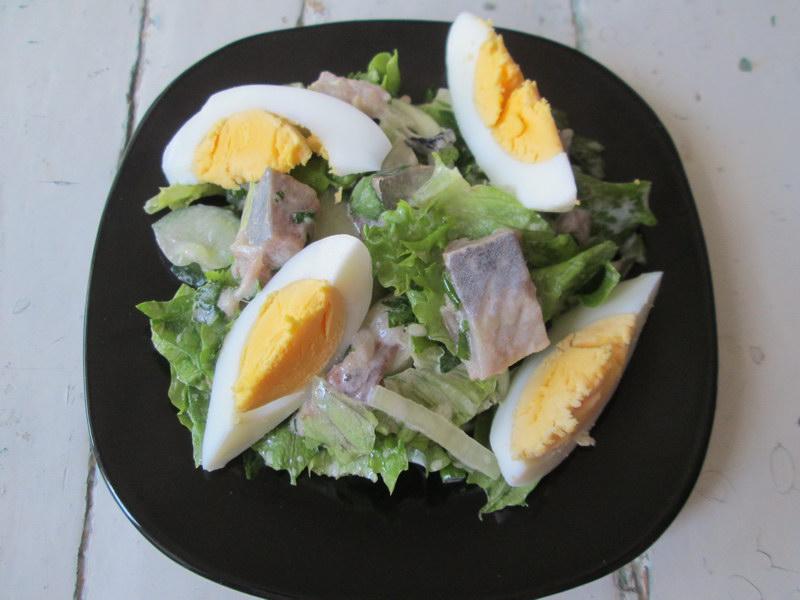 Слабосоленая селедка в свежем весеннем салате