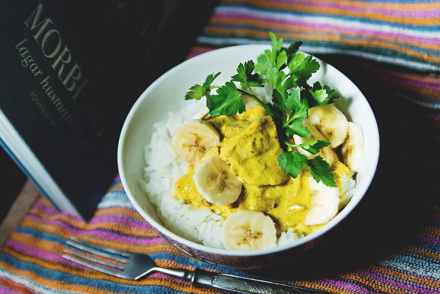 Рецепт курицы с бананом из книжки о шведской домашней кухне, внуки обожают