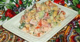 Салат «7 минут» — Приятно удивил вкусовым сочетанием копченой курицы и арахиса