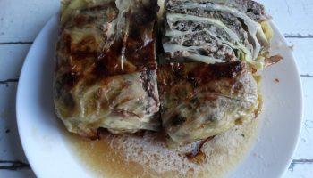 Пирог «Капустная слойка» (тесто — капуста, начинка — мясо)