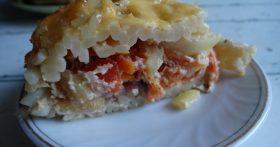 Французский пирог без муки и теста «Тимбаль с мясом». Всё просто он готовится из макарон!