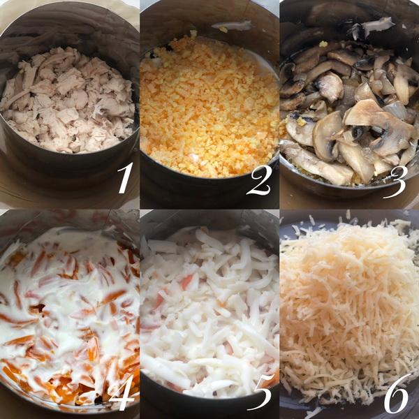 Салат «Вечная классика» с курицей и шампиньонами. Рецепт «похудила» и готовлю на диете