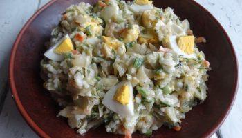 Салат с печеной капустой и рисом — просто и ново